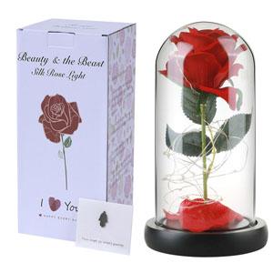 Sonnis Kit de Rosas,La Bella y La Bestia Rosa Encantada,Elegante Cúpula de Cristal con Base Pino Luces LED,Beauty and Regalos Magicos Decoración para ...