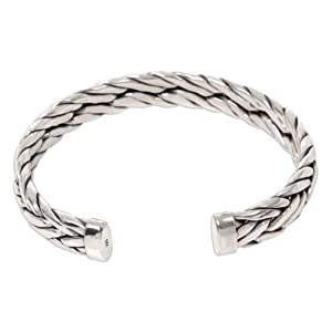 NOVICA Men's Modern Woven .925 Sterling Silver Cuff Bracelet, Handmade,Men's Jewelry,For Modern Man