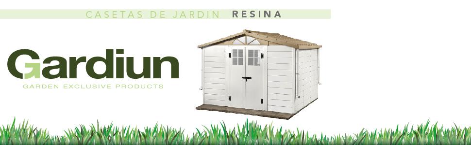 GARDIUN KSP38100 - Caseta de Resina Mara - 1, 34 m² Exterior 102x132x203 cm Antracita/Blanco: Amazon.es: Jardín