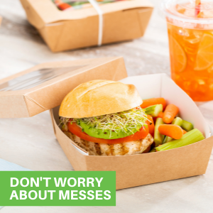 These disposable paper lunch boxes are grease-resistant to maintain their premium look.