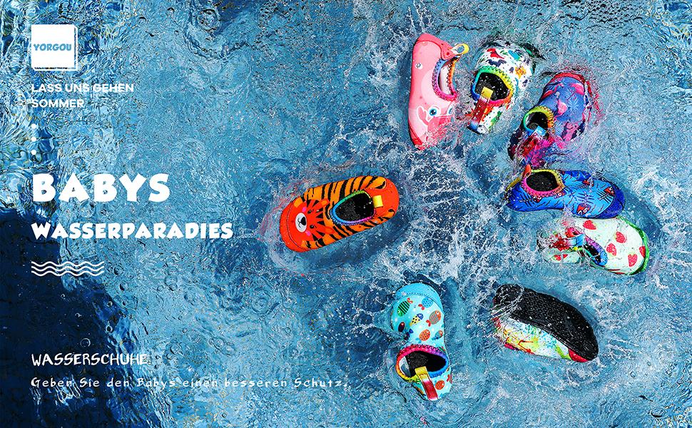 Yorgou Baby Strandschuhe Schwimmschuhe Badeschuhe Wasserschuhe Schnelltrocknende Aquaschuhe rutschfest Barfuss Schuh f/ür Kinder Beach Pool 25//26 EU Streifen//Schwarz