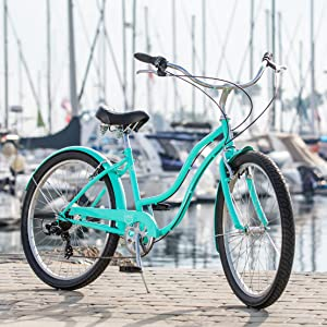 Schwinn Mikko Women's Cruiser Bike Line, Featuring 17-Inch/Medium Steel  Step-Through Frames, 1-3-7-Speed Drivetrains, Full Front and Rear Fenders,  and