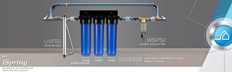 iSpring WSP-50 Reusable Whole House Spin Down Sediment Water Filter 50 Micron +
