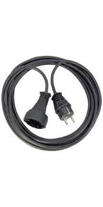 Cable de alargador de plástico con enchufe plano y protección infantil para uso en interiores