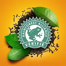 vérifié Rainforest Alliance, 100 % responsable,  ONG indépendante, agriculture durable et raisonnée.