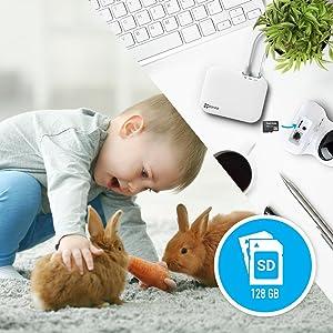 NVR; enregistreur vidéo; SD card slot; micro SD; micro-carte SD