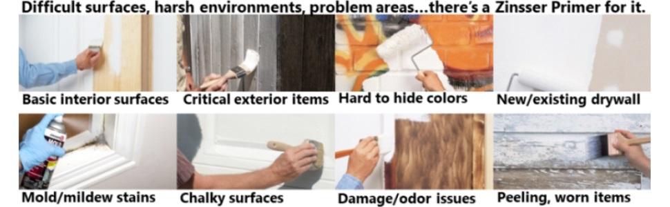 Zinsser Bulls Eye, Exterior, Mold and Mildew Blocking, Bonding, Peel Stop, Odor Eliminating Primers