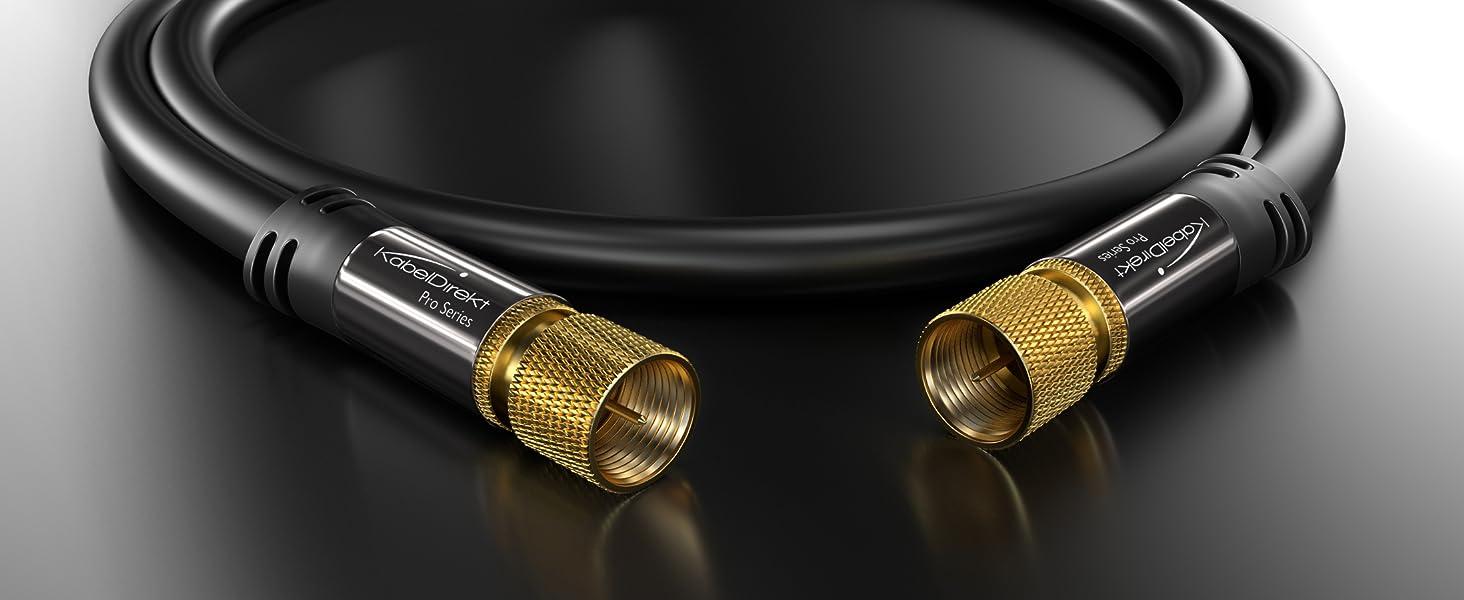 KabelDirekt – 0,5m Cable de Satélite Coaxial (Conector F a Conector F, Clase A, señales analógicas e Digitales, TV y receptores), Pro Series