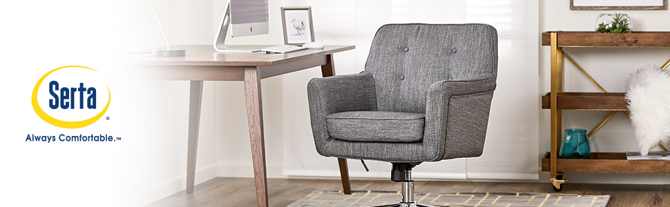 Remarkable Serta Style Ashland Home Office Chair Twill Fabric Gray Home Interior And Landscaping Spoatsignezvosmurscom