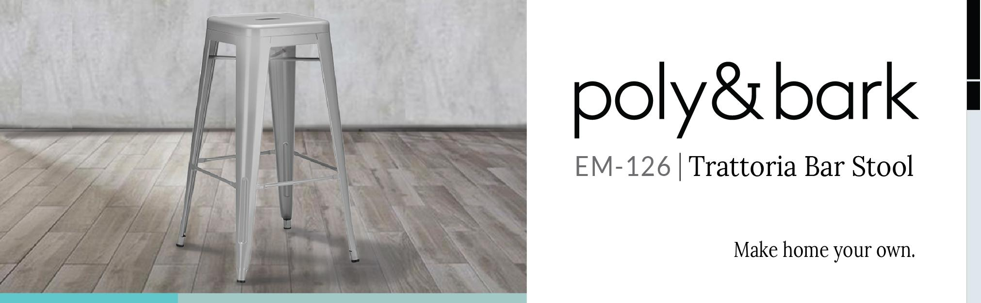 Amazon.com: Poly and Bark Trattoria Bar Stool in Polished Gunmetal ...