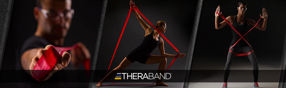 TheraBand with people exercising using the CLX Bands with Loops