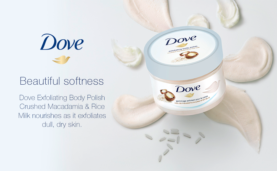 Amazon Com Dove Exfoliating Body Polish Body Scrub To Help Revive Dry Dull Skin Macadamia Rice Milk Polishes And Nourishes Your Skin 10 5 Oz Beauty