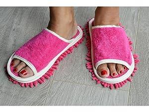 Slipper Genie Microfiber Cleaning Slippers Pink Amazon