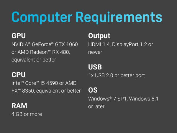 HTC VIVE computer requirements