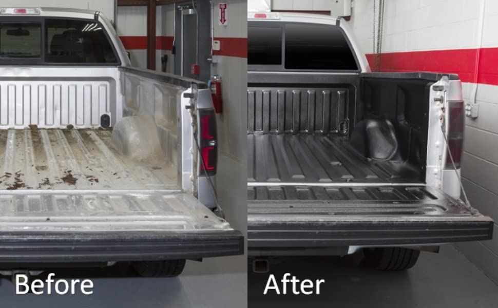 before and after truck bed rugged textured weather resistant protective coating