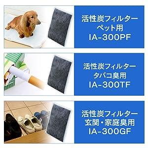 3種類の活性炭フィルター(別売り)