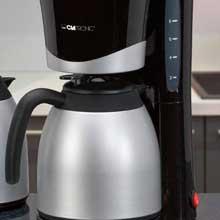 Clatronic KA 3328 Cafetera eléctrica de goteo automática con 2 jarras termo, máquina café de filtro capacidad 8 a 10 tazas, función de mantenedora calor, 870 W, Cups, Negro y plata: Clatronic: Amazon.es: Hogar