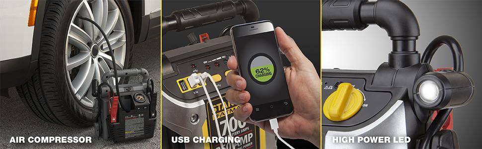 air compressor, USB charging, High powered LED
