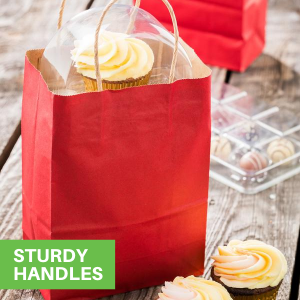 These paper shopping bags have built-in handles to comfortably carry light or heavy items.