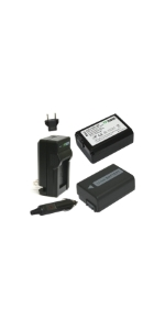 Wasabi Power 2 Batteries + Charger Kit for Sony NP-FW50