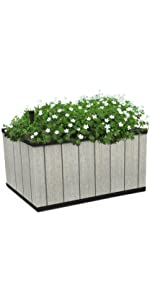Details about  /Large 40cm Brown Rattan Plastic Planters /& Water Reserve Window Box Plant Pot