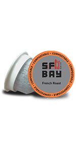 French Roast, coffee k cups, sf bay coffee, san francisco bay coffee, single serve coffee pods