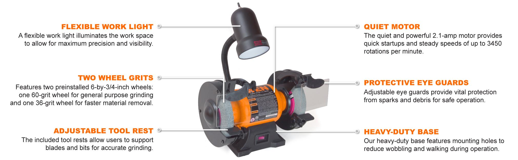 Wen 4276 2 1 Amp 6 Inch Bench Grinder With Flexible Work