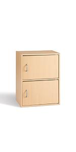 Cube 2 Portes Meuble de Rangement Appoint Bureau Séjour Entrée Chevet Erable