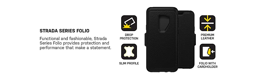 on sale 0a326 32732 OtterBox STRADA SERIES Case for Samsung Galaxy S9 Plus - Shadow  (Black/Pewter)