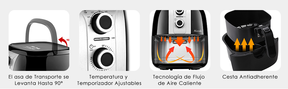 Freidora sin Aceite, Aicok Freidora de Aire Caliente 3,5 L, Apagado Automático, Protección Contra, Multi Función Freidora Antiadherente Sartén, Fácil ...