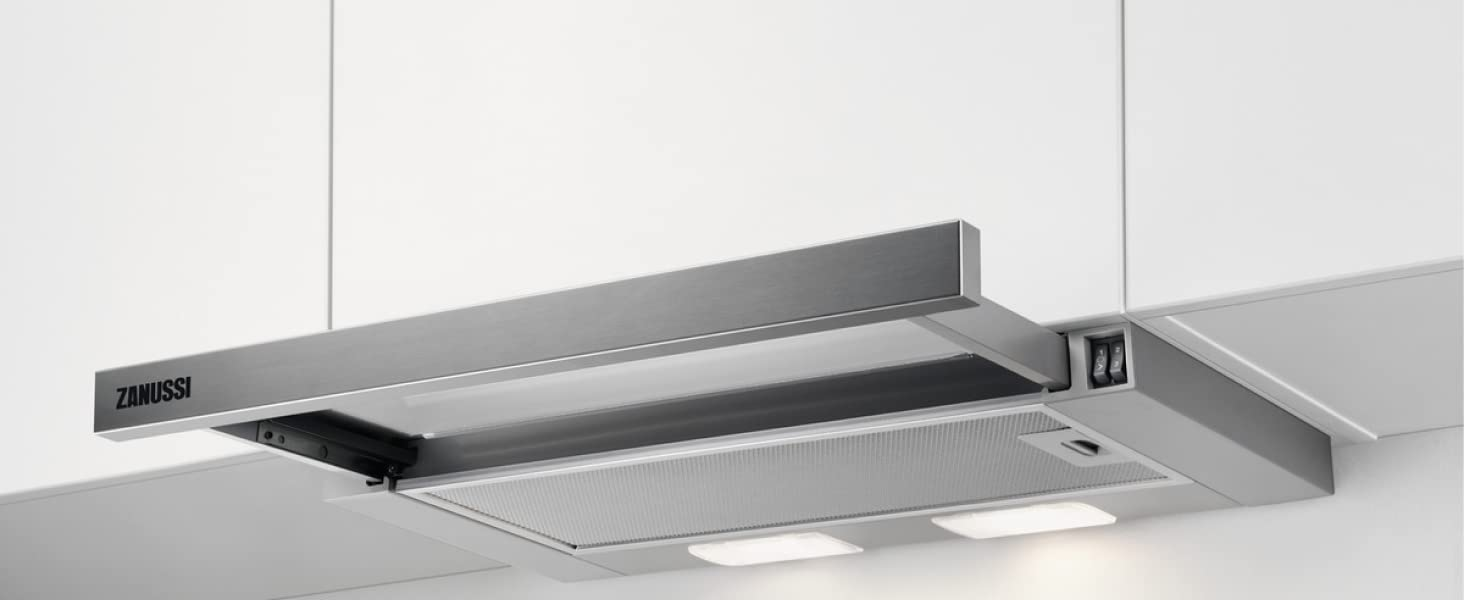 Zanussi ZHP60260SA Campana extractora extraíble de 60 cm, 3 niveles de potencia, Salida de aire de 120 mm, Nivel de ruido 62 dB(A), Iluminación LED, Clase D, Inox: Amazon.es: Grandes electrodomésticos