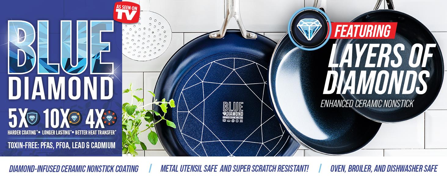 Blue Diamond, cookware, nonstick, frying pan, diamonds, ceramic, pfas, easy to clean, toxin free