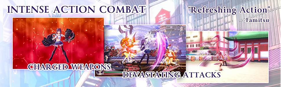 Game features, such as intense action combat, charged weapons, and devastating attacks