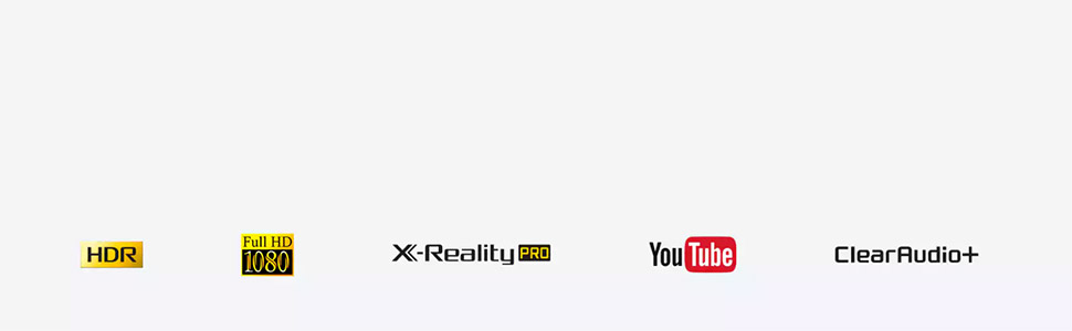 Feature icons. HDR, Full HD 1080, X-Reality PRO, YouTube, ClearAudio+