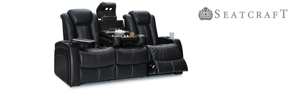 Seatcraft republic leather home theater seating power recline row of 3 sofa w Home theater furniture amazon