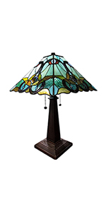 Tiffany Style Accent Lamp Stained Glass Green Vintage Antique Light Decor Nightstand Living Bedroom