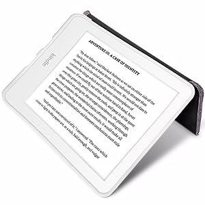 Capa Novo Kindle 10a. Geração WB Origami Estilo Tecido Preta Deitado