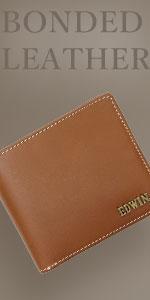 ボンデッドレザー メタルロゴ 二つ折財布