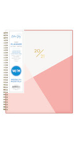 blue sky, cali pink collection, academic planner cover, weekly, monthly, 2020-2021, 8.5x11