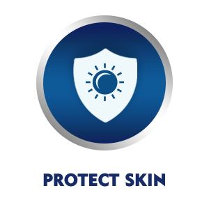 The UV filters protect skin from the darkening effects of sun rays
