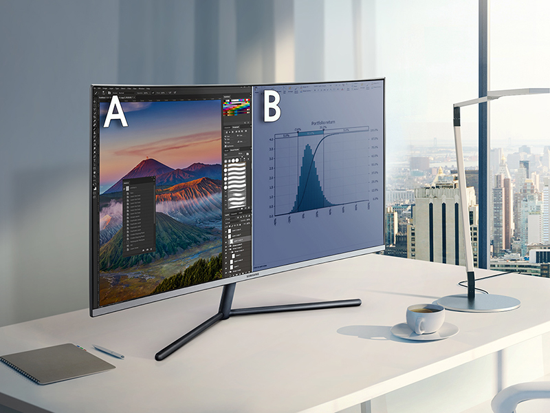 Samsung UDH Monitor displaying two source with Picture-by-Picture onscreen multi-tasking