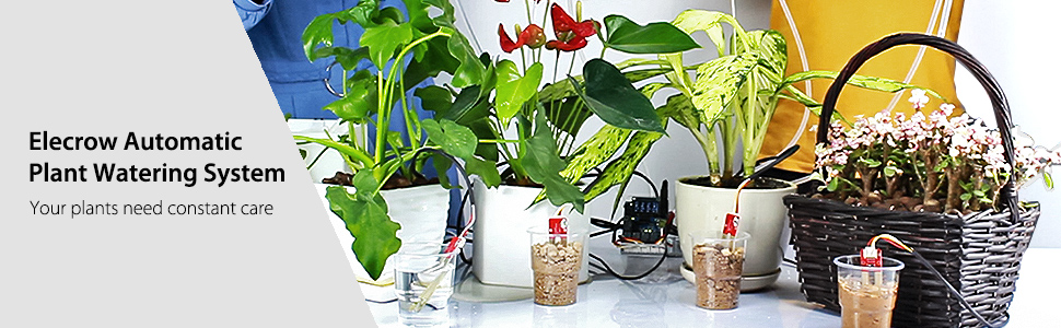 Elecrow Arduino Plant Watering System with Soil Moisture Sensor and Pump,  DIY Gardening Self Watering Device Automatic Plant Watering for Garden  Patio