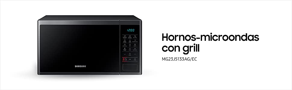 Samsung MG23J5133AM/EC - Microondas con grill, 800W/1100W, 23 litros, interior Cerámica Enamel, color negro / espejo