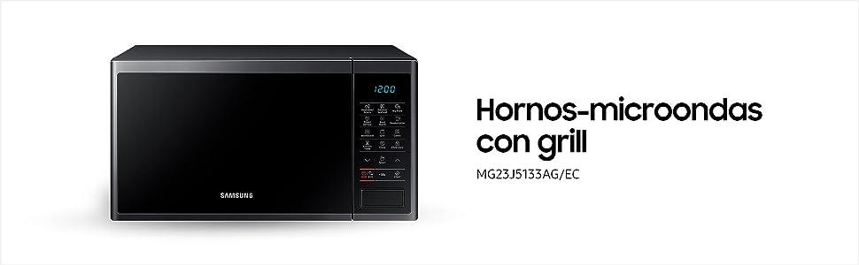 Samsung MG23J5133AG/EC - Microondas con grill, 800W/1100W, 23 litros, interior Cerámica Enamel, color negro grafito