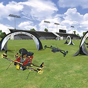 Detail view of FPV flying site with drones flying through and around gate obstacles