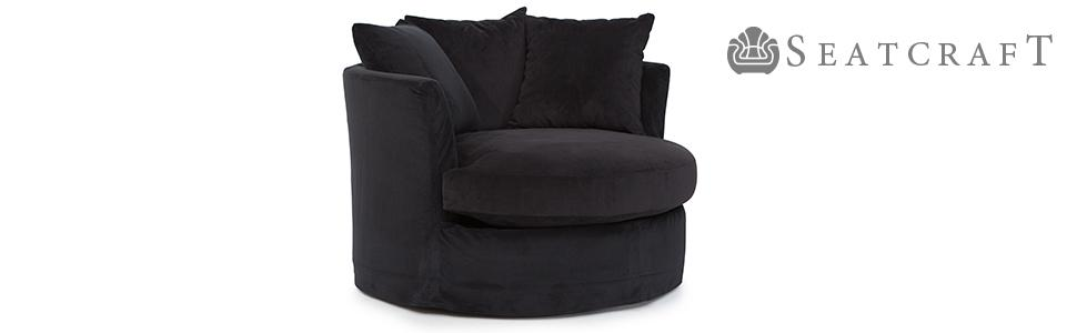 Seatcraft Daytona Black Home Theater Swivel Cuddle Chair