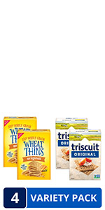 Wheat Thins Original and Triscuit Original Crackers Variety Pack, 4 Boxes