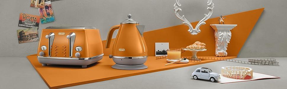 icona capitals; delonghi; toaster and kettle set orange; delonghi; delongi