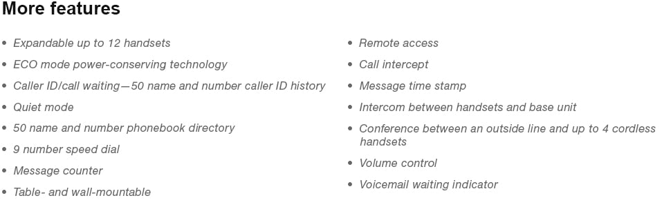 speed dial redial quiet mode call intercept ECO mode table wall mountable intercom conference