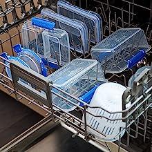 Sistema Klip It Top-rack dishwasher, freezer, and microwave safe.